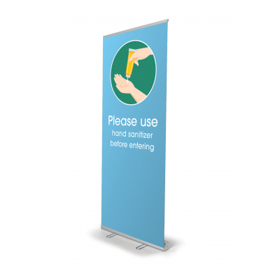 Retractable Banner Stand-Use Hand Sanitizer